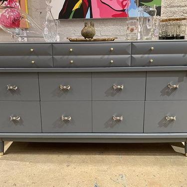 "Amazing storage, stunning details on this gray painted mid century dresser. 58"" x19"" x32"""
