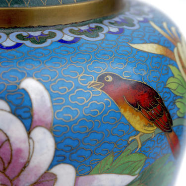Large Chinese Cloisonné Baluster Lamp | Colorful Flower & Bird Motif | Asian Hollywood Regency Chinoiserie Chic Statement Lighting by ELECTRICmarigold