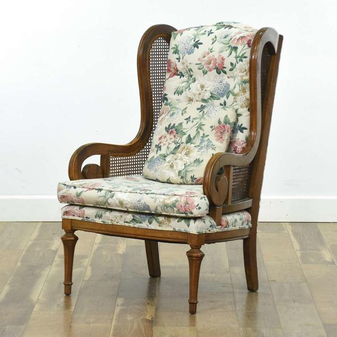 Empire Style Wingback Armchair W Cane Panels