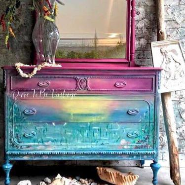 Vintage Hand Painted Sunset Dresser - Hand Painted Dresser - Seascape Sunset Dresser - Boho Dresser - Bedroom Furniture - Painted Furniture by DareToBeVintage
