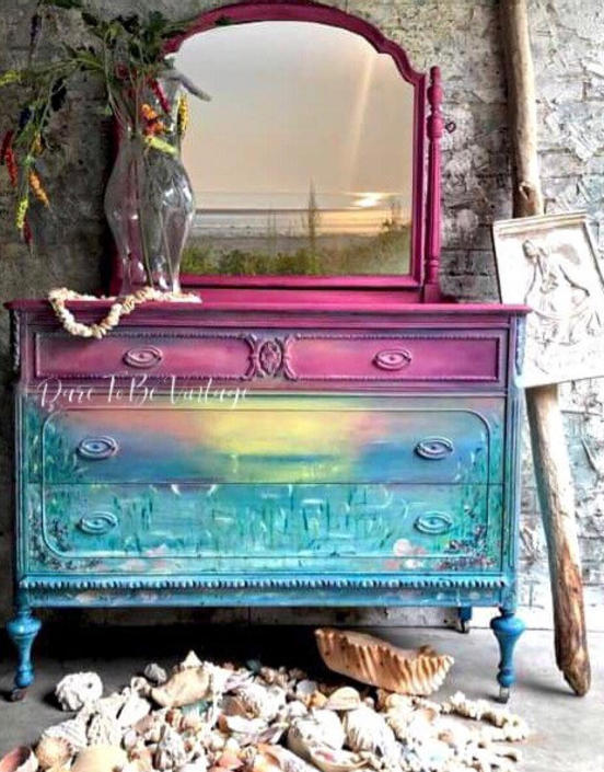 Vintage Hand Painted Sunset Dresser - Hand Painted Dresser - Seascape Sunset Dresser - Boho Dresser - Bedroom Furniture - Painted Furniture by DareToBeVintage
