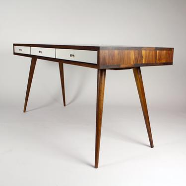 Jeremiah Collection Mid Century Desk White Gloss Drawers and Cord Management by jeremiahcollection