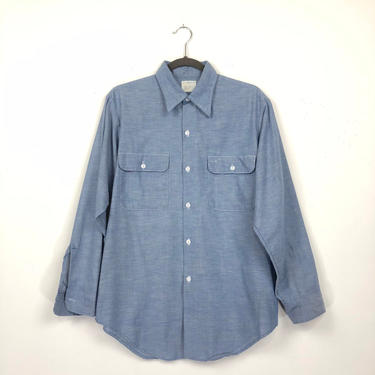 60s 70s Big Mac Chambray Workwear Shirt | Work Wear Button Down by HartAndShapeVintage