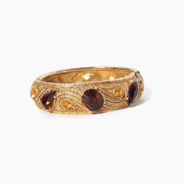 Vintage 50s Rhinestone Bracelet / 1950s Gold Amber & Topaz Rhinestone Clamper by LuckyDryGoods