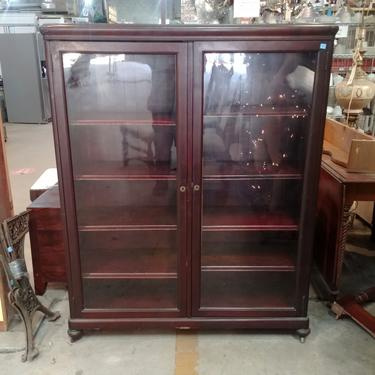 Vintage Glass Front Cabinet on Wheels