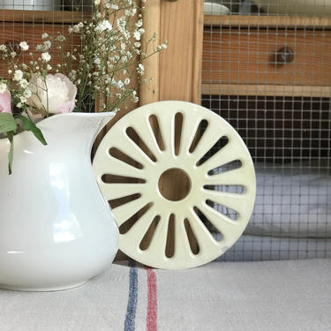 Beautiful vintage French ironstone trivet, strainer by Grainsacfrenchvintag