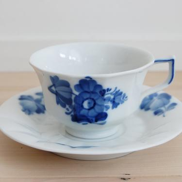 Royal Copenhagen Blue Flower Angular Cup and Saucer Made in Denmark, 8500 by MidCentury55