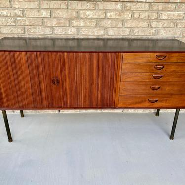 Italian MCM Teak Credenza Sideboard Cabinet with Tambour Sliding Doors and Drawers by PrimaForme