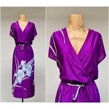 Vintage 1970s Slinky Floral Disco Dress, 70s Deep V Purple lris Print Stretchy Polyester Sheath by Ritz Hawaii, Medium by RanchQueenVintage