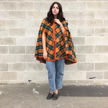 Vintage Cape Retro 1970s La Luz + Orange and Green + Checkered + Tartan + Poncho + Reversible + Wool + One Size + Made in Mexico + Apparel by RetrospectVintage215