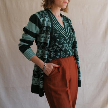 Vintage 70s Green Twin Set/ 1970s Knit Vest and Cardigan Sweater/ Geometric Print/ Size Medium by bottleofbread