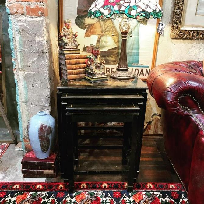 Black lacquer nesting tables