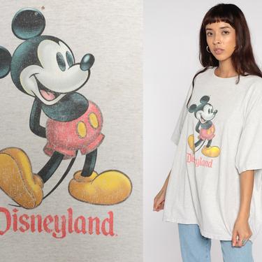 90s Disneyland Shirt Walt Disney TShirt MICKEY MOUSE Graphic Cartoon T Shirt Vintage Heathered Grey Tee Kawaii Cartoon Extra Large xxl 2x by ShopExile
