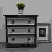 Dark grey and light grey Small Dresser with three drawers / chest / side table / accent table / Tv stand by UniquebyRuth