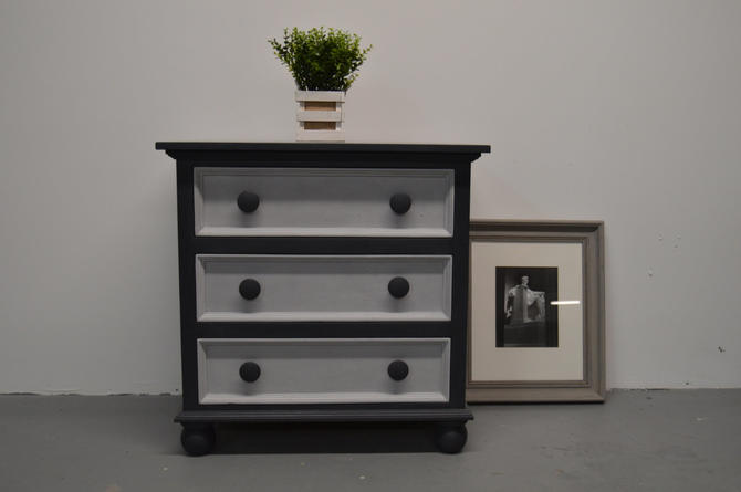 Dark Grey And Light Small Dresser With Three Drawers Chest Side Table