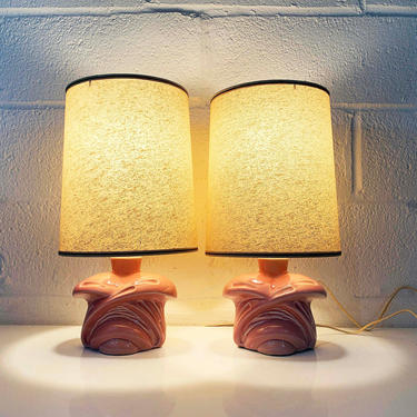 True Vintage Pink Table Lamps Ceramic Light Decor MCM Mad Men Mid-Century 1960s Accent Lighting Powder 50s 1950s 1960s Pair Set Room Bedroom by CheckEngineVintage