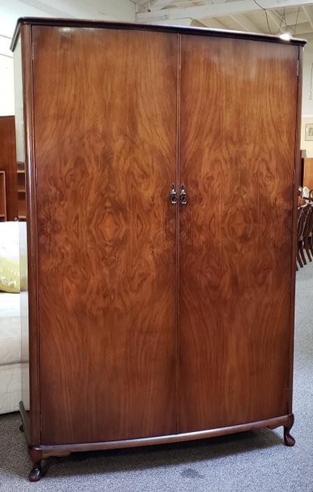 Item #S20 Burl Walnut Double Door Armoire c.1940s