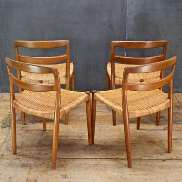 Mid-Century Danish Teak Cane Dining Chairs 1950s Scandinavian by CabinModernist
