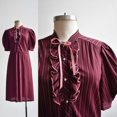 70s Maroon Striped Shirt Dress by milkandice