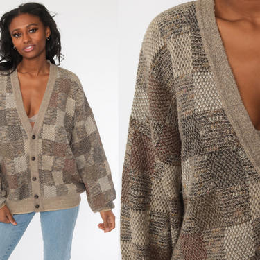 Plaid Cardigan Sweater -- 80s Taupe Cardigan Wool Blend Knit Button Up 1980s Vintage Nerd Oversized Checkered Print Extra Large xl by ShopExile