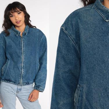 80s Denim Jacket LL Bean Jean Jacket Plaid Lined Blue Jean Trucker Stone Wash 1980s Vintage Biker 90s Grunge Faded Coat Small Medium by ShopExile