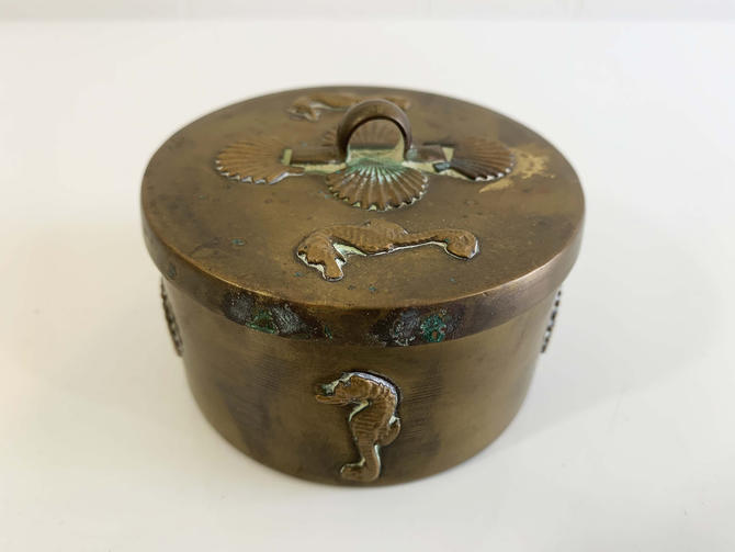 Vintage Seashell Brass Round Box Mid-Century Hollywood Regency Beach House Decor Dish Retro Catch All MCM Vanity Ring Jewelry Box Holder by CheckEngineVintage