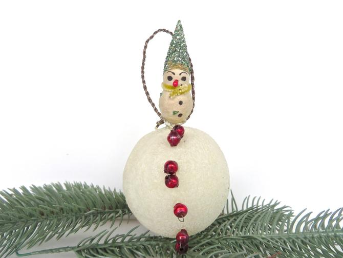 Antique Spun Cotton Snowman Christmas Ornament, Large Victorian Snowman On White Mica Snowball With Mercury Glass Beads by HerVintageCrush