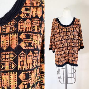 Vintage 1970s Orange & Black House Novelty Print Sweater / M by MsTips