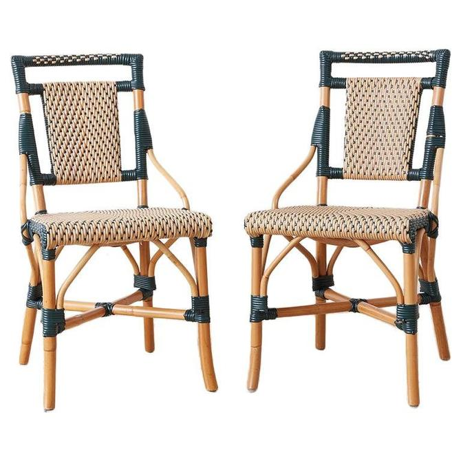 Pair of Palecek Bamboo Rattan Bistro Cafe Chairs by ErinLaneEstate
