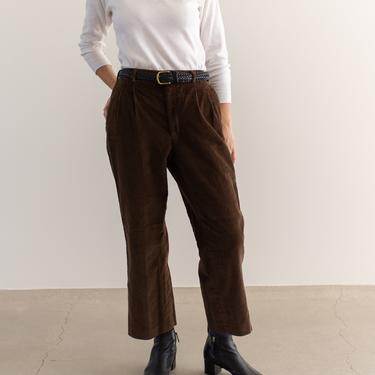 Vintage 31 Waist Brown Corduroy Pleated Trousers | High Rise | Made in USA | by RAWSONSTUDIO
