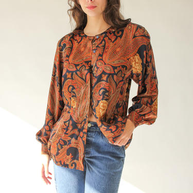 Vintage 80s Escada Royal Paisley and Floral Print Silk Blouse | Made in West Germany | 100% Silk | Broad Shoulders | 1980s Designer Silk Top by TheVault1969