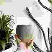 "5.5""Pot/Planter-Ceramic Orb with Concrete Look"