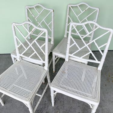 Set of Four Faux Bamboo and Cane Chairs
