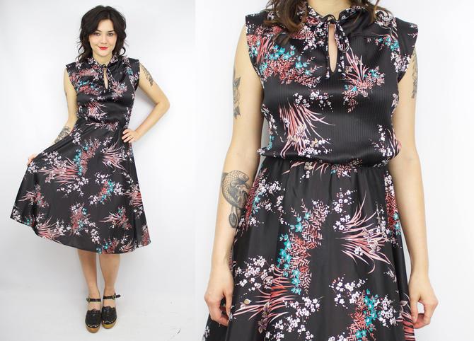 Vintage 70\'s Black Floral Dress / 1970\'s Secretary Dress / Summer / Cap  Sleeve / Queen\'s Row / Women\'s Size Large/XL/Plus Size 1X by ...