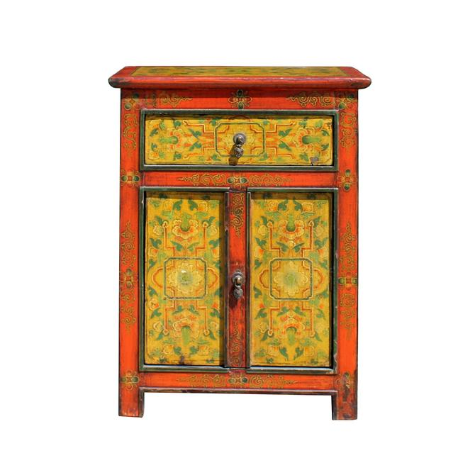 Orange Red Yellow Tibetan Style Floral Pattern End Table Nightstand cs5780S