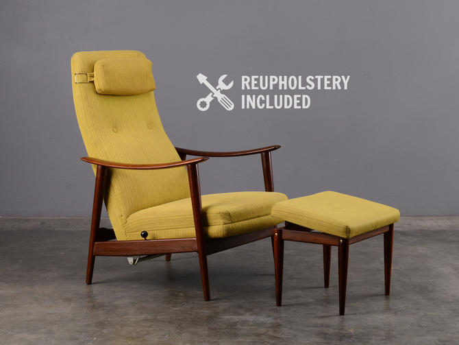 Mid-Century Recliner and Ottoman Lounge Chair Danish Modern Westnofa by MadsenModern
