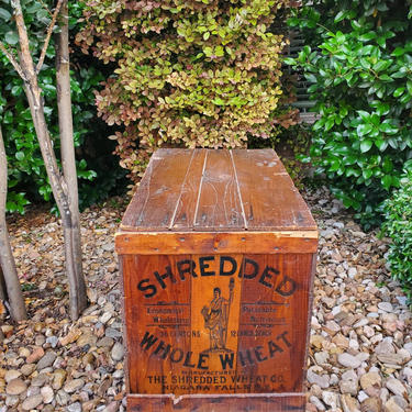 Antique Shredded Whole Wheat Stamped Wooden Crate Box with Lid, Niagara Falls New York Industrial Americana Folk Art  - Great side table! by RabidRabbitAntiques