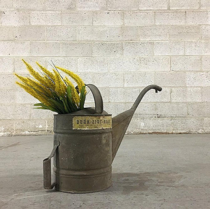 LOCAL PICKUP ONLY Vintage Watering Can Retro 1940s Gray Dora Zinc Alloy Metal Can with 2 Handles and Long Spout Gardening or Farmhouse Decor by RetrospectVintage215