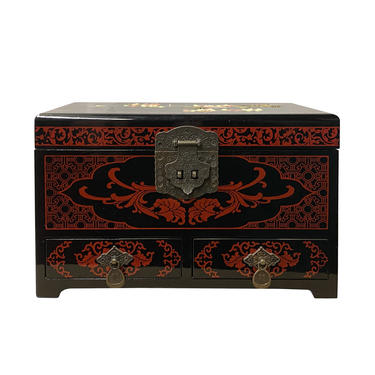 Chinese Oriental Black Lacquer Flower Mirror Jewelry Chest Box ws1199E by GoldenLotusAntiques