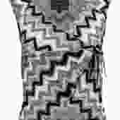 Versace - Grey, Black & White Chevron Woven Wrap Top Sz M