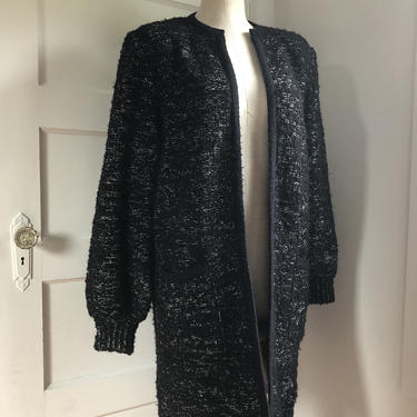 1980s Black Speckled Knit Cardigan- Long Duster Sweater (w/pockets!)- size large by VeeVintageShop