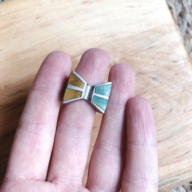 Men's Turquoise and Tiger's Eye Sterling Silver Ring Native American by TheDistilleryVintage