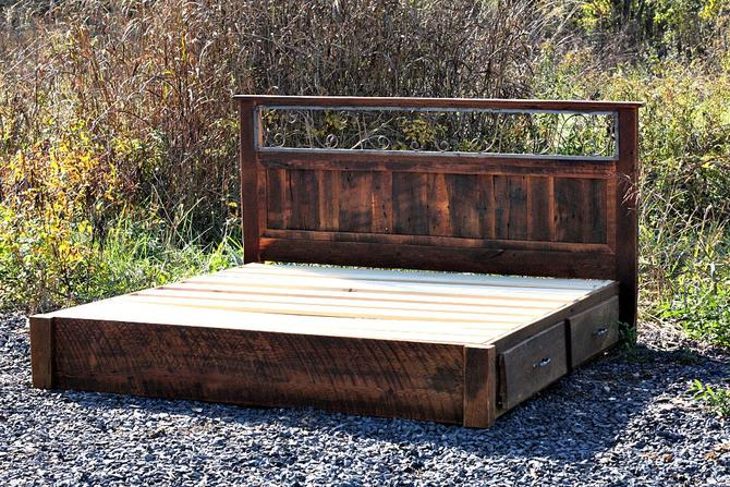 Mission Style Bed with Wrought Iron Transom Panel and Storage Drawers by StrongOaksWoodshop