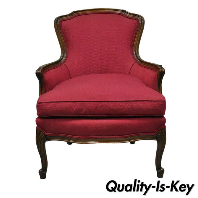 Vintage French Country Louis XV Style Bergere Armchair Chair Burgundy Upholstery