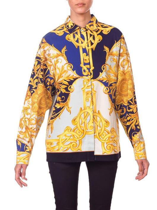 1990S Versus Gianni Versace Blue  White Cotton Twill Gold Baroque Printed Long Sleeve Shirt by SHOPMORPHEW