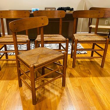 Set of 4 Danish Modern Borge Morgensen Era Corded Dining Chairs by MSGEngineering