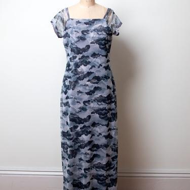 Y2k Cherub Cloud Print Dress / 1990s Printed Mesh Dress by FemaleHysteria