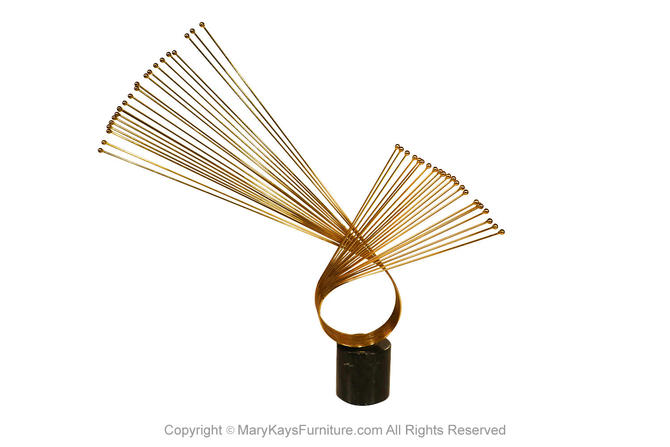 Mid Century Curtis Jere Brass Abstract Sculpture on Marble by Marykaysfurniture
