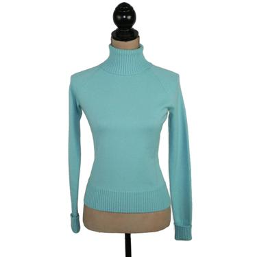 90s Turquoise Turtleneck Sweater Small, Fitted Knit Turtle Neck Long Sleeve Top, 1990s Clothes Women, Vintage Clothing from Banana Republic by MagpieandOtis