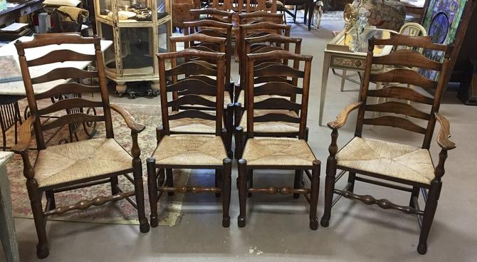 English Country Farm Provincial Dining Side Chairs w/Rush Seats | Set of 10